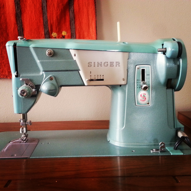 Green sewing machine